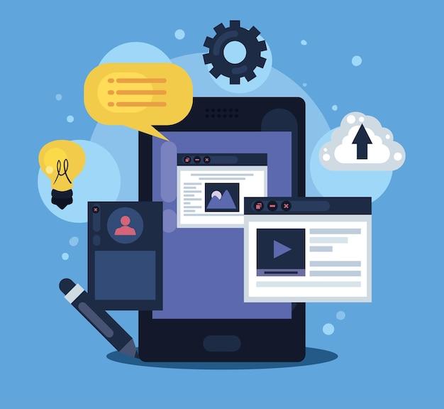Smartphone con scena di web design
