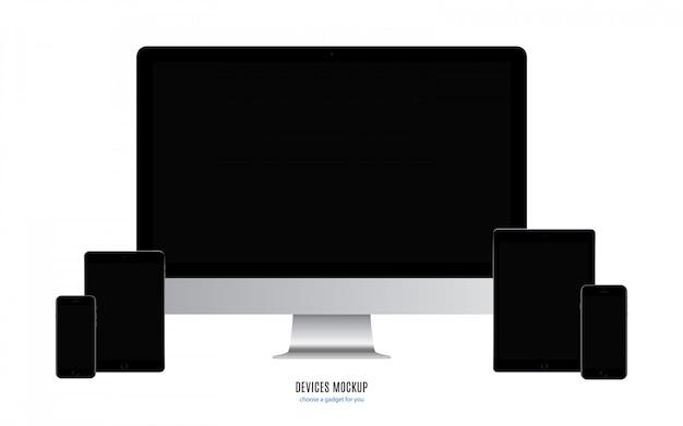 Smartphone, tablet e monitor del computer con schermo nero bianco isolato su sfondo bianco. illustrazione di riserva