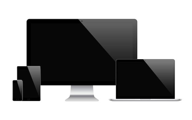 Smartphone tablet laptop e monitor di computer di colore nero con schermo vuoto isolato