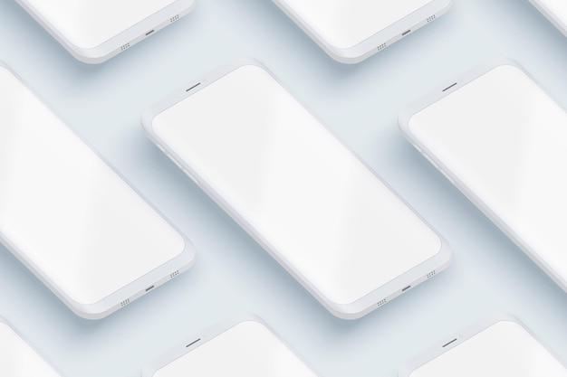 Layout dell'interfaccia utente degli smartphone in prospettiva.
