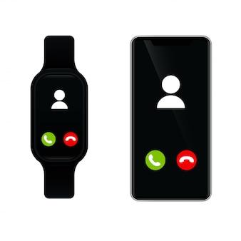Smartwatch si collega a uno smartphone per chiamare Vettore Premium