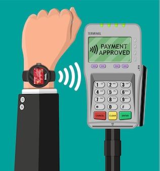 Pagamenti contactless smartwatch isolati su verde