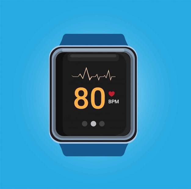 Smartwatch con l'app di controllo della frequenza del battito cardiaco nell'illustrazione realistica nel fondo blu