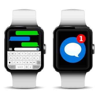 Smartwatch con schermata del tempo e app di messaggistica sms
