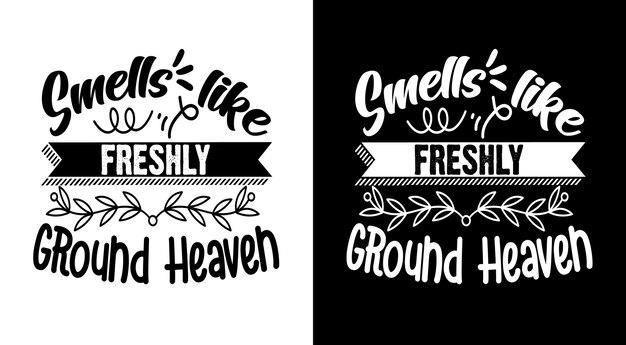 Odora di lettere disegnate a mano con citazioni di caffè del paradiso appena macinato