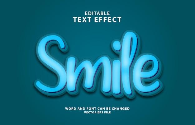 Sorriso colorato effetto di testo modificabile 3d