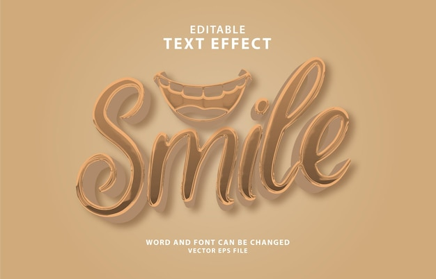 Effetto di testo modificabile 3d del giorno del sorriso