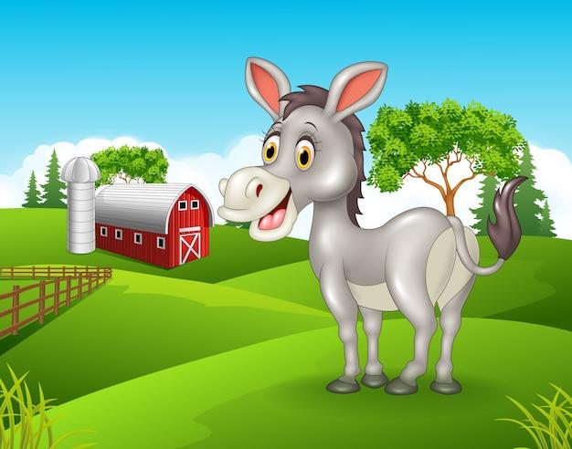 Fumetto dell'asino di sorriso che si leva in piedi nell'azienda agricola