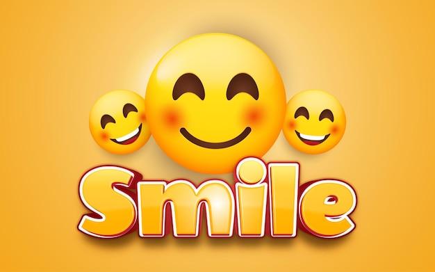 Emoticon di sorriso con scritte in giallo