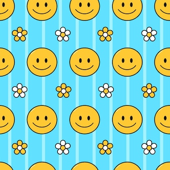 Sorriso viso e fiori modello senza cuciture illustrazione del personaggio dei cartoni animati di doodle disegnato a mano di vettore