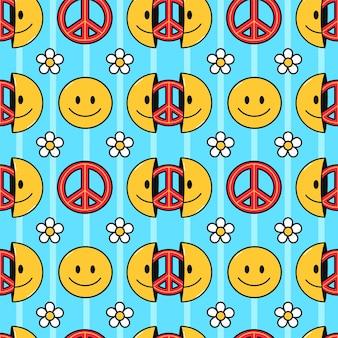 Faccina sorridente, reticolo senza giunte del segno di pace pacifismo. illustrazione del personaggio dei cartoni animati di doodle disegnato a mano di vettore. faccina sorridente, segno pacifista di pace hippie stampa per t-shirt, poster, concetto di carta senza cuciture