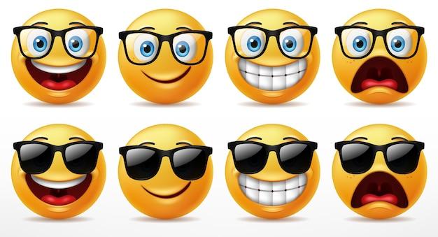 Sorriso affronta set di caratteri emoticon, espressioni facciali di facce gialle carine che indossano occhiali da sole.