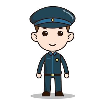 Sorriso poliziotto chibi design del personaggio