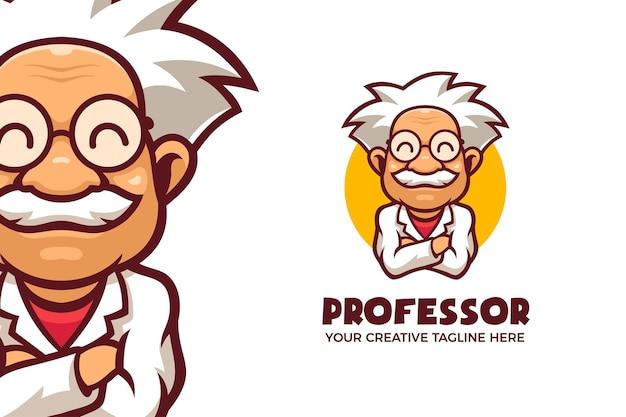 Modello di logo della mascotte dei cartoni animati del professore del sorriso