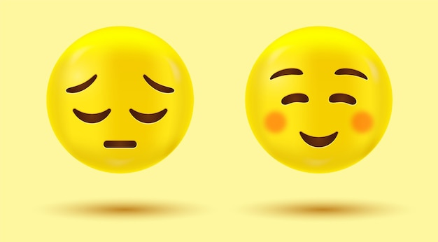Sorriso e triste emoji o emoticon felice e infelice