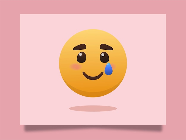 Sorriso triste emoji con lacrime icona illustrazione