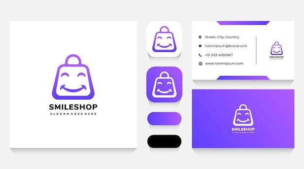 Modello di logo e biglietto da visita per borsa della spesa con sorriso