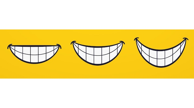 Sorriso, labbra sorridenti, bocca, emozioni del viso allegro. insieme del fumetto che ride con i denti.
