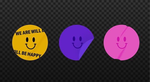 La collezione di adesivi del sorriso. il vecchio modello per i design moderni.