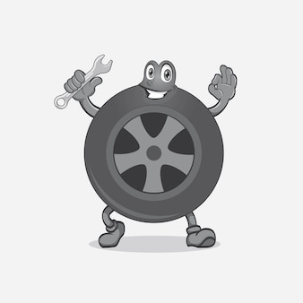 Smile design del logo della mascotte del pneumatico