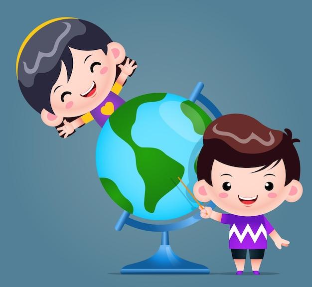 Indicare del ragazzo di smiley e ragazza che impara con l'illustrazione del globo del mondo