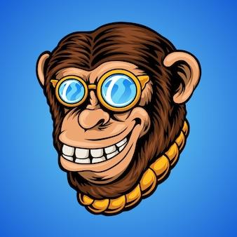 Illustrazione di scimpanzé di smiley