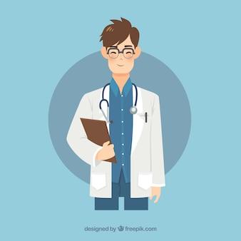 Smiley medico con appunti e stetoscopio
