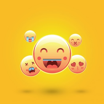 Emoticon di smiley, emoji, concetto di social media