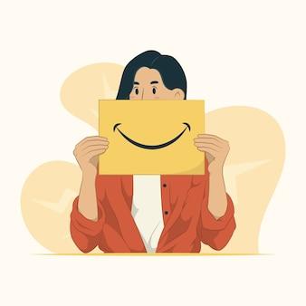 Illustrazione di concetto di faccina sorridente