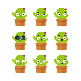 Il set di smiley della pianta di cactus. illustrazione vettoriale isolato