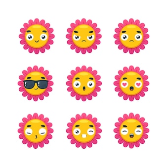 Il set di smiley di fiori rosa. illustrazione vettoriale isolato