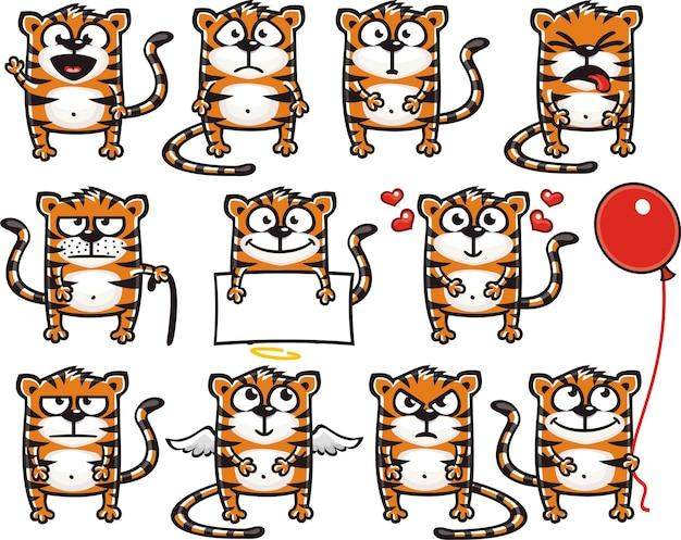 Tigri smiley raggruppate individualmente per un facile copia e incolla.