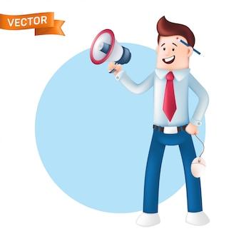 L'uomo d'affari sorridente si è vestito in una camicia blu con un megafono della tenuta del legame e gridare in esso. personaggio di felice ufficio manager con un megafono, mouse del computer in mano e matita dietro l'orecchio