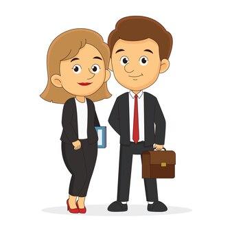 Sorridente cartone animato uomo d'affari e donna d'affari che tiene valigetta