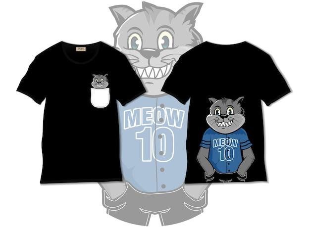 Illustrazione di gatto sorridente con design t-shirt, disegnato a mano Vettore Premium