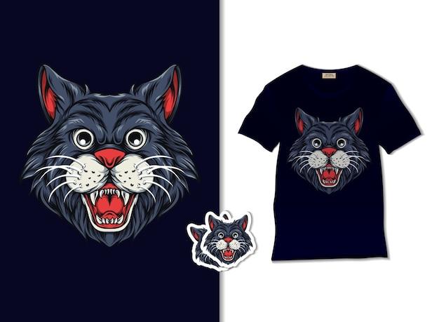 Illustrazione di gatto sorridente con design t-shirt, disegnato a mano