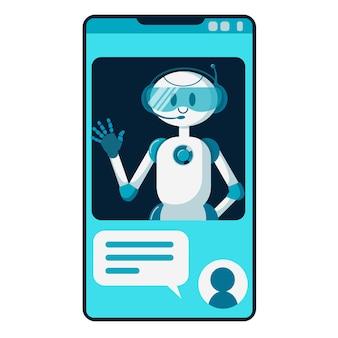 Robot sorridente del carattere del bot di chat che aiuta a risolvere i problemi. illustrazione del fumetto piatto