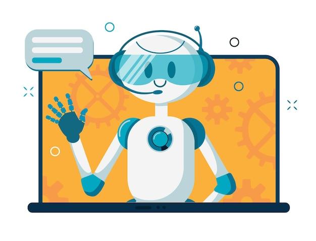 Robot sorridente del carattere del bot di chat che aiuta a risolvere i problemi.