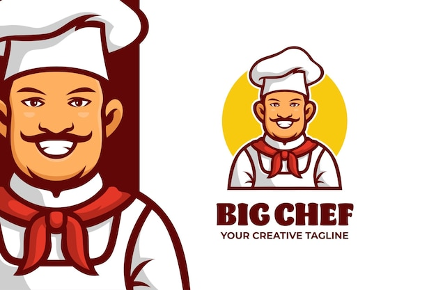 Modello di logo del personaggio mascotte chef sorridente