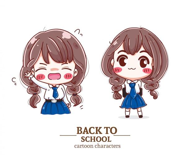 Uniforme sorridente dello studente dei bambini di nuovo al logo dell'illustrazione della scuola.