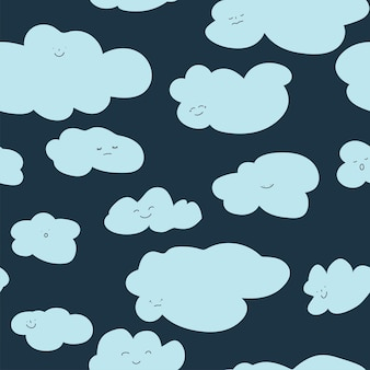 Sorridente personaggio nuvola, soffice modello senza cuciture di cloudscape. personaggio con espressione facciale, poster da sogno o sfondi per la progettazione di cartoline per bambini o bambini. vettore in stile piatto illustrazione Vettore Premium