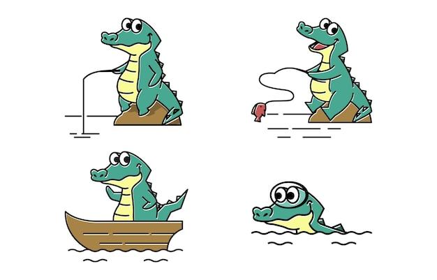 Sorridente coccodrillo coccodrillo pesca divertente simpatico personaggio dei cartoni animati mascotte