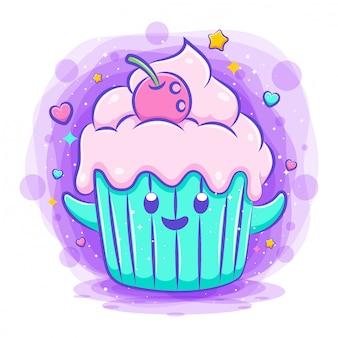Simpatico cartone animato kawaii sorridente di carattere cupcake