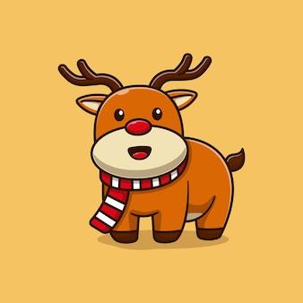 Sorridente carino piccolo cervo illustrazione vettoriale design