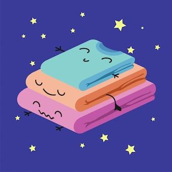 Pila sveglia sorridente di vestiti colorati, carta del bambino di habituate o manifesto.
