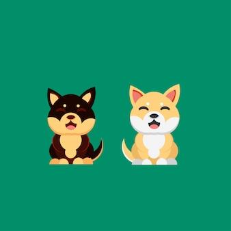 Illustrazione disegnata a mano sorridente di stile di shiba inu del cane