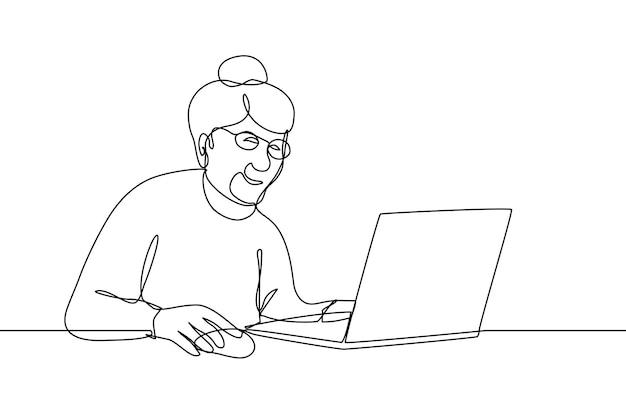 Donna anziana sorridente che lavora alla chat della nonna dell'illustrazione di vettore di arte di linea del computer portatile sui social network