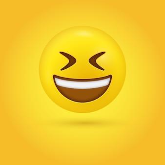 Faccina sorridente di emoji con la bocca aperta e gli occhi chiusi socchiusi in moderno - emoticon che ride grande sorriso