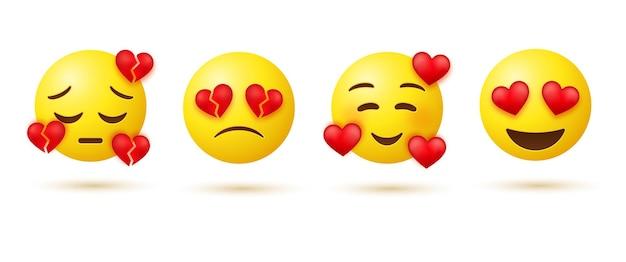 Emoji sorridente con cuori e emoticon occhi amorevoli con emozioni di cuori spezzati