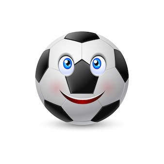 Volto sorridente sul pallone da calcio. illustrazione su bianco